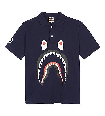 A BATHING APE Shark piqué cotton polo shirt 4-8 years (Navy