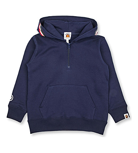A BATHING APE Shark cotton-jersey hoody 4-8 years (Navy