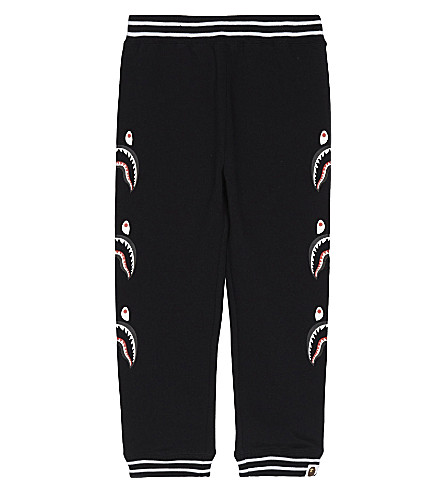 A BATHING APE Shark print cotton jogging bottoms 4-8 years (Black