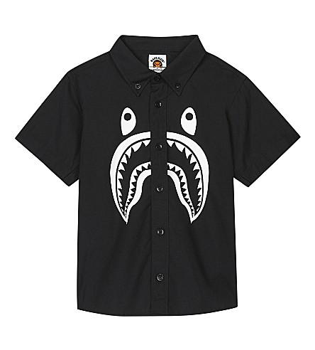 A BATHING APE Shark cotton shirt 4-8 years (Black