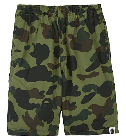A BATHING APE Camo print swim shorts 4-8 years (Green