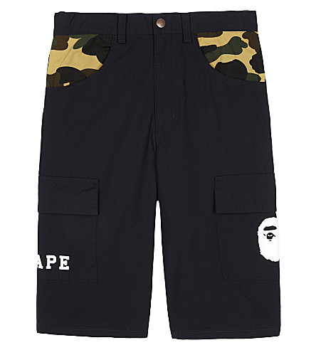 A BATHING APE Ape camouflage-trim long cotton shorts 4-8 years (Navy