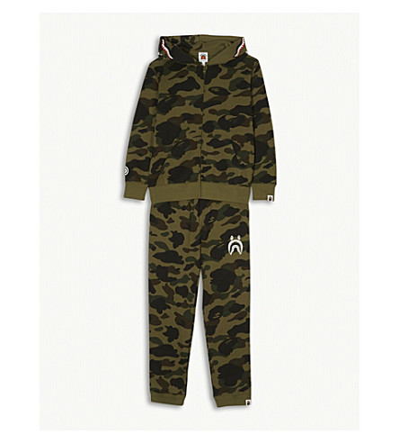 A BATHING APE Camouflage-print cotton tracksuit 4-8 years (Grn