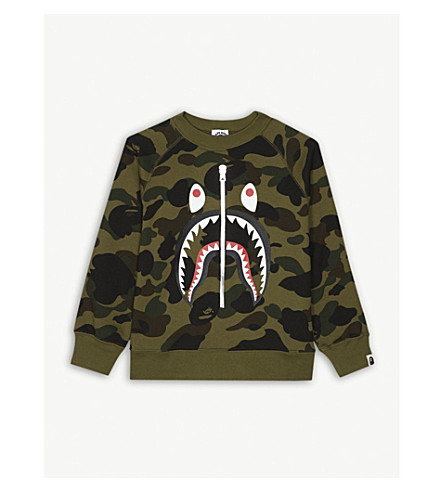 A BATHING APE Shark zip print camouflage sweatshirt 4-8 years (Grn