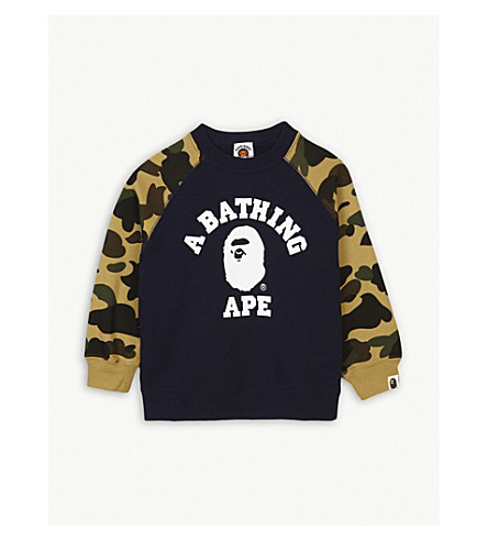 A BATHING APE Camouflage logo cotton sweatshirt 4-8 years (Yel