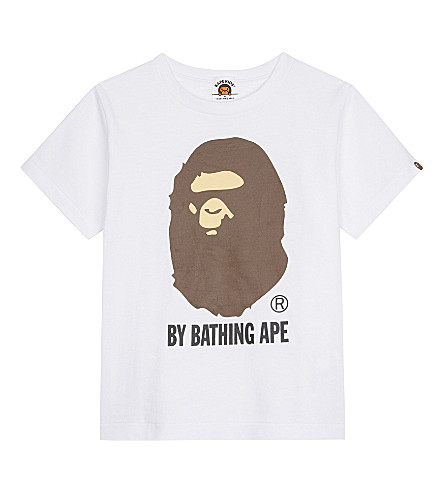A BATHING APE Large logo cotton T-shirt 4-8 years (White