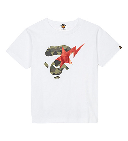 A BATHING APE Camouflage ape and star cotton T-shirt 4-8 years (White