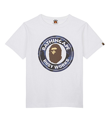 A BATHING APE Busy Works cotton T-shirt 4-8 years (White