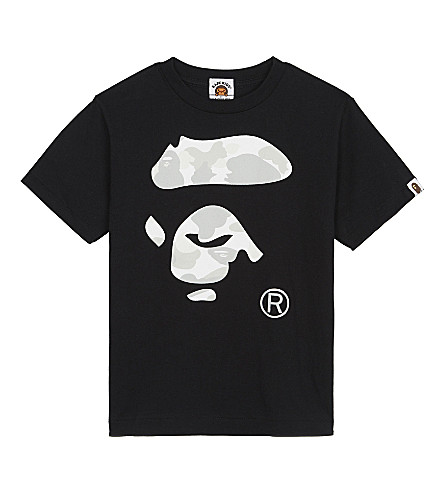 A BATHING APE Cotton logo T-shirt 4-8 years (Black