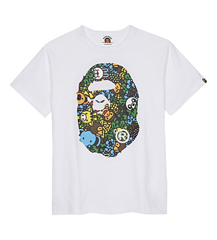 A BATHING APE Baby Milo Island oversized cotton T-shirt 4-8 years (White