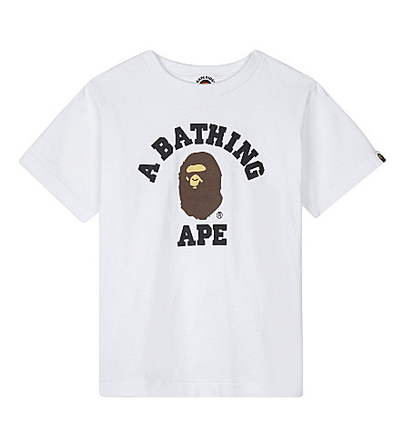 A BATHING APE Ape logo cotton T-shirt 4-8 years (White