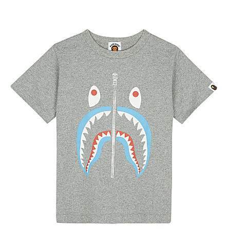 A BATHING APE Shark cotton T-shirt 4-8 years (Grey
