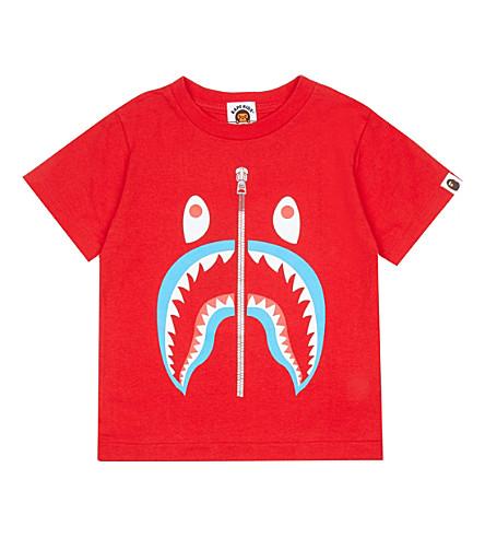 A BATHING APE Shark cotton T-shirt 4-8 years (Red