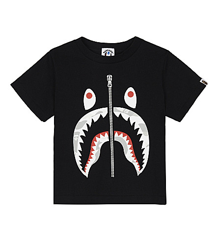 A BATHING APE Glow-in-the-dark zip shark cotton T-shirt 4-8 years (Black