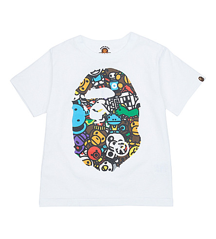 A BATHING APE Safari cotton T-shirt 4-8 years (White
