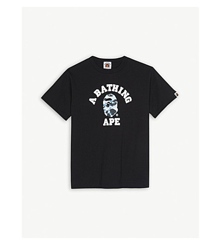 A BATHING APE Camouflage ape cotton T-shirt 4-8 years (Black