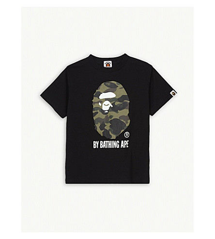 A BATHING APE Camouflage logo cotton t-shirt 4-8 years (Bk