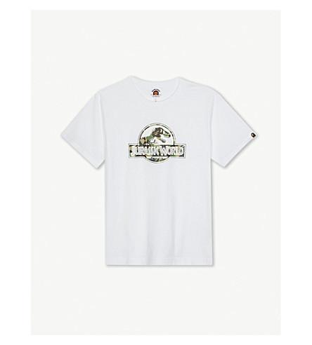 A BATHING APE Jurassic World logo cotton T-shirt 4-8 years (White