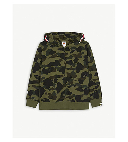 A BATHING APE Logo patch camouflage hoody 4-8 years (Grn