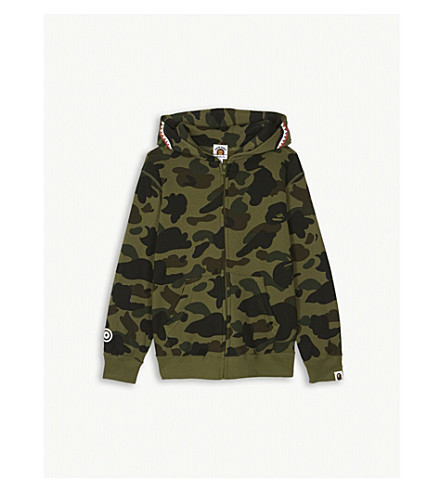 A BATHING APE Camouflage shark cotton hoody 4-8 years (Grn