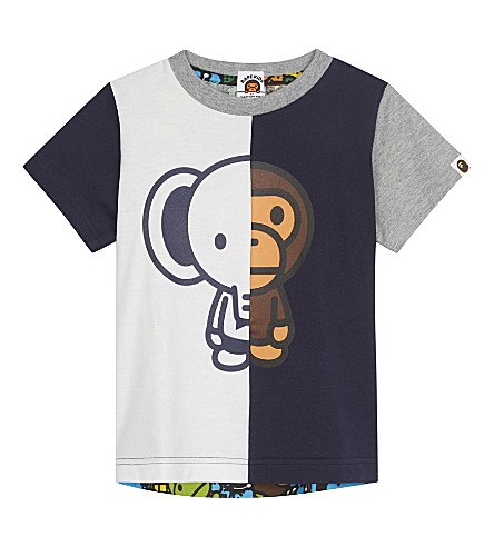 A BATHING APE Elephant and Baby Milo print cotton T-shirt 4-8 years (Navy