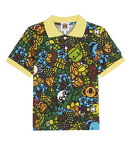 A BATHING APE Island print cotton polo shirt 4-8 years (Multi