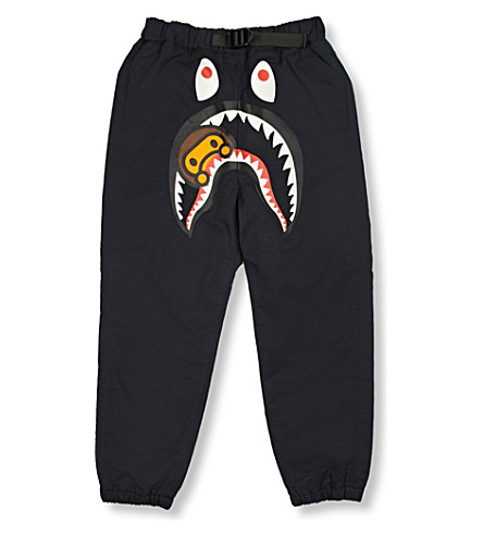 A BATHING APE Milo Shark cotton-blend jogging bottoms 4-8 years (Navy