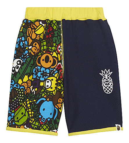 A BATHING APE Island print cotton shorts 4-8 years (Navy