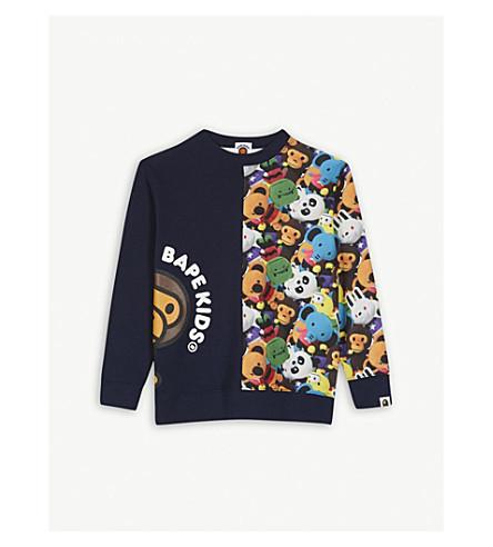 A BATHING APE Baby Milo print cotton sweatshirt 4-8 years (Nvy