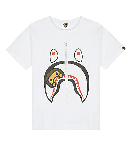 A BATHING APE Shark print T-shirt (White