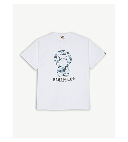 A BATHING APE Baby Milo camouflage print cotton T-shirt 4-8 years (White
