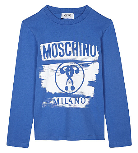 MOSCHINO Logo print long-sleeved cotton top 4-14 years (Blue
