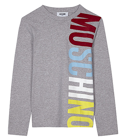 MOSCHINO Big logo long-sleeved top 4-14 years (Grey