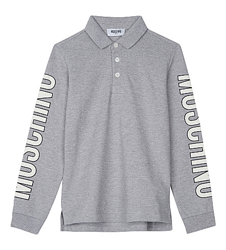 MOSCHINO Long-sleeved polo top 4-14 years (Grey