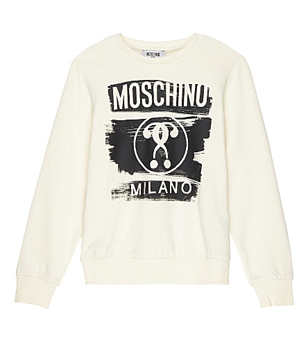 MOSCHINO Printed cotton jumper 4-14 years (White
