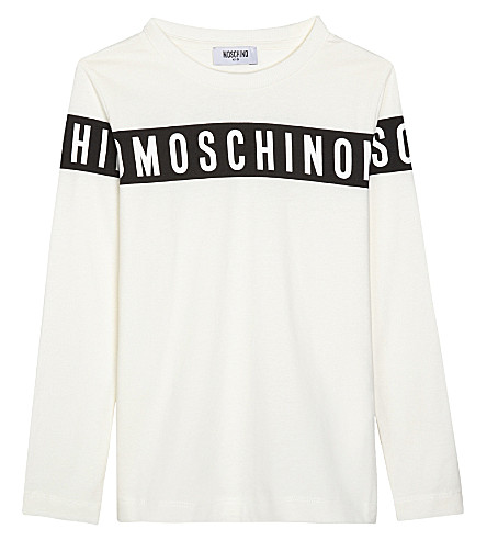 MOSCHINO Logo tape long-sleeved top 4-14 years (White