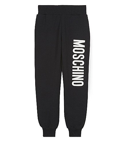 MOSCHINO Logo print cotton track pants 4-14 years (Black