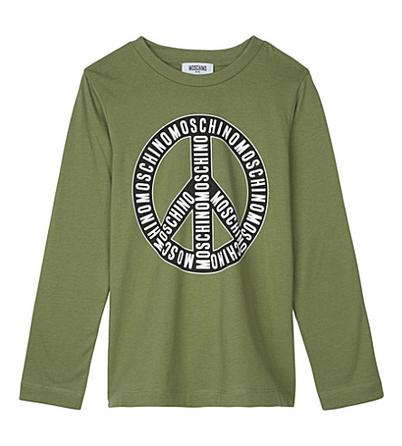 MOSCHINO Logo long-sleeved cotton top 4-14 years (Khaki
