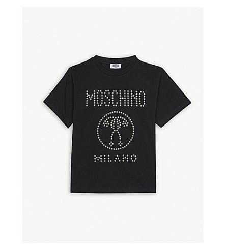 MOSCHINO Studded logo cotton T-shirt 4-14 years (Black