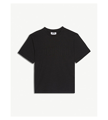 MOSCHINO Logo embossed cotton-blend t-shirt 4-14 years (Black