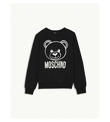 MOSCHINO Teddy bear logo cotton-blend sweatshirt 4-14 years (Black