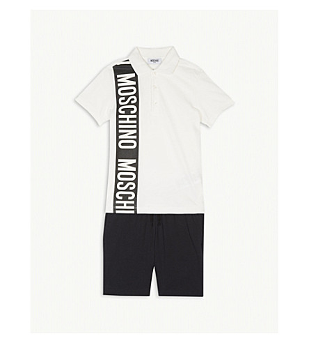 MOSCHINO Polo shirt and shorts cotton set 4-12 years (Black