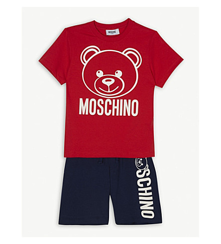 MOSCHINO Logo T-shirt and shorts set 4-12 years (Red/blue
