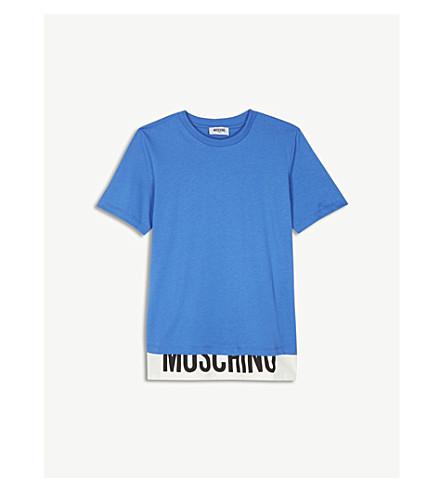 MOSCHINO 徽标详细信息平纹针织面料 T 恤 (蓝色