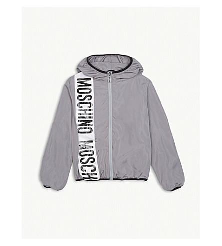 MOSCHINO Stripe logo windbreaker jacket 4-14 years (Grey