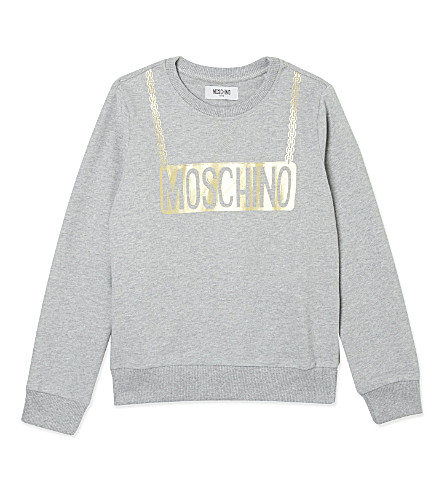 MOSCHINO Foil logo cotton sweatshirt 4-14 years (Melange grey