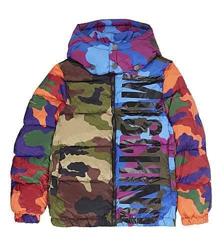 MOSCHINO Multi-coloured camouflage print puffa jacket 4-14 years (Multi