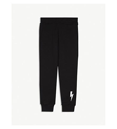 NEIL BARRETT Lightning bolt cotton jogging bottoms 4-14 years (Black
