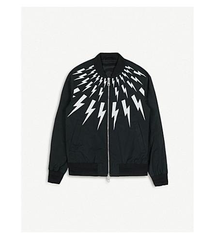 NEIL BARRETT Lightning bolt shell bomber jacket 4-14 years (Black