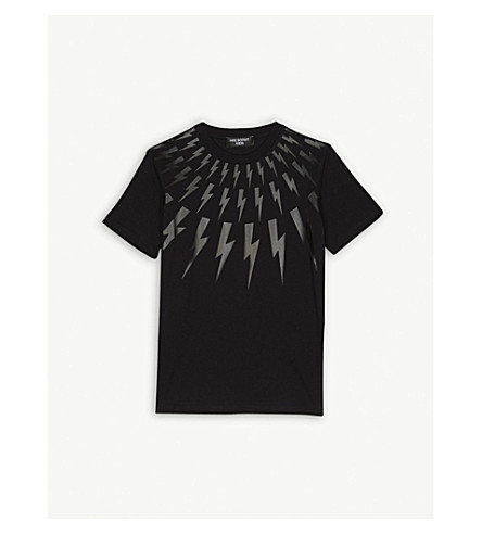NEIL BARRETT Lightning bolt cotton T-shirt 4-14 years (Black